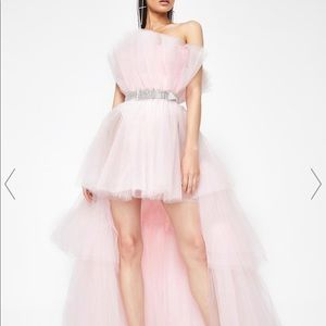 ANY PRICE Pink Tulle Layered Train Dress